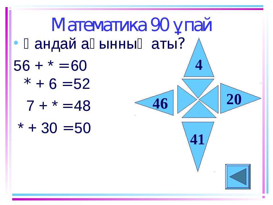 Математика 90 ұпай Қандай ақынның аты? 56 + * = 60 * + 6 = 52 7 + * = 48 * +...