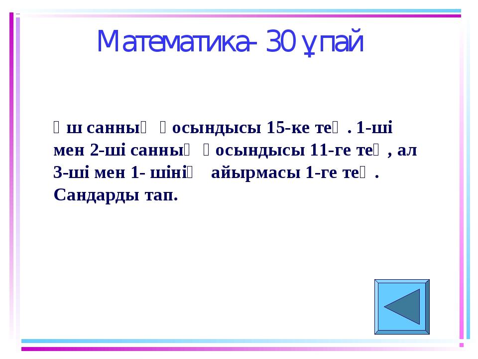 Математика- 30 ұпай Үш санның қосындысы 15-ке тең. 1-ші мен 2-ші санның қосын...