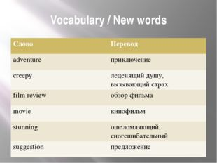 Vocabulary / New words Слово Перевод adventure приключение creepy леденящий д