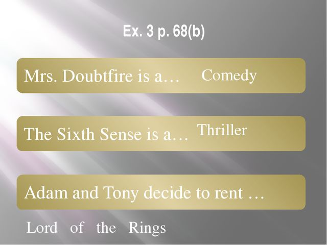 Ex. 3 p. 68(b) Lord of the Rings Comedy Thriller