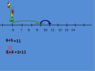 6 7 8 9 10 11 12 13 14 10 +1 =11 =11 6+4 6+5