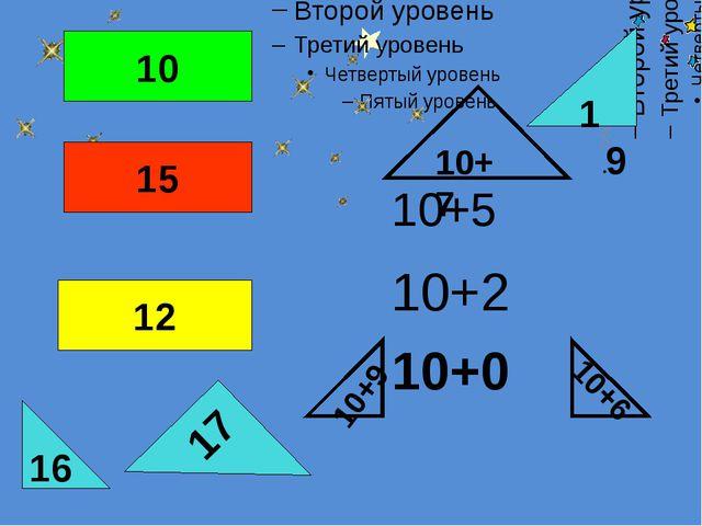 10+9 10+6 10+7 16 10 15 12 17 19 10+5 10+2 10+0