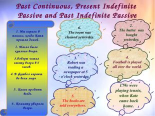 Past Continuous, Present Indefinite Passive and Past Indefinite Passive 1.We