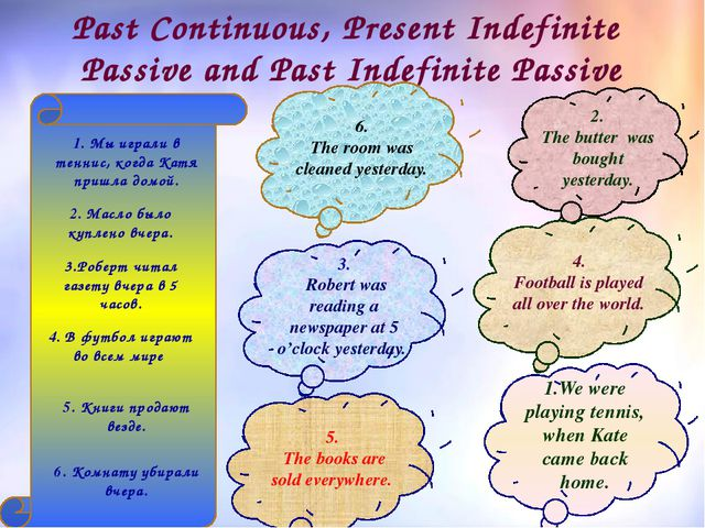 Past Continuous, Present Indefinite Passive and Past Indefinite Passive 1.We...