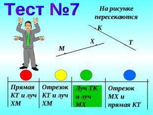 Прямая KT и луч XM Отрезок KT и луч XM Луч TK и луч MX На рисунке пересекаютс