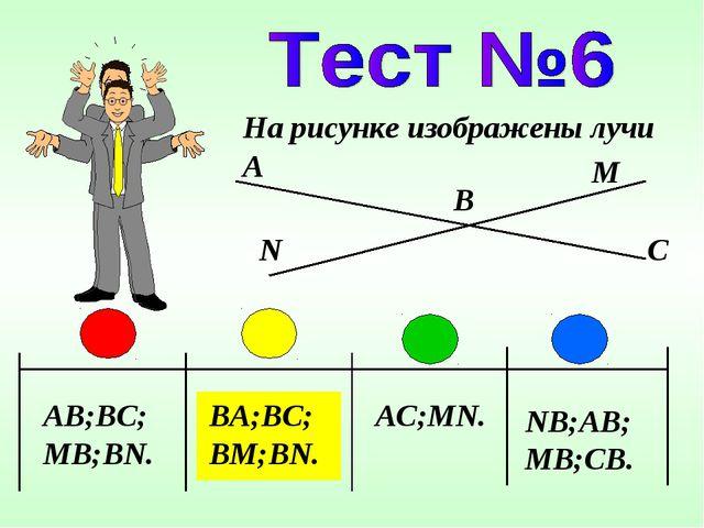 AB;BC;MB;BN. BA;BC;BM;BN. AC;MN. NB;AB;MB;CB. На рисунке изображены лучи A N...