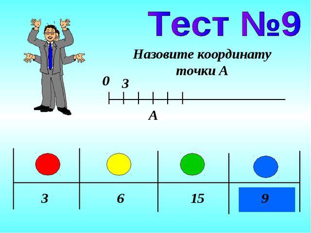 3 6 15 9 Назовите координату точки А 0 A 3