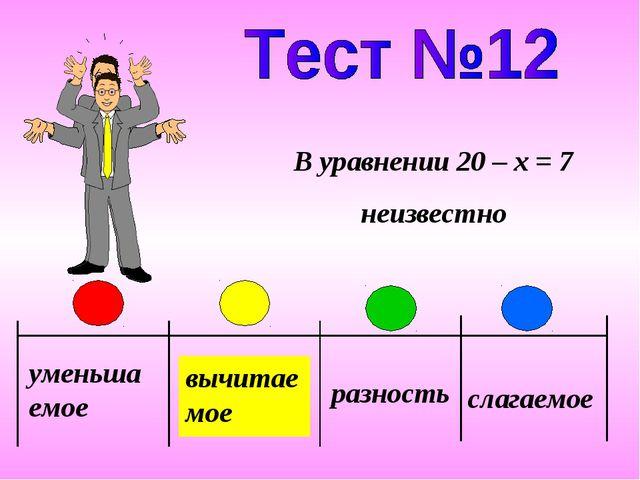 уменьшаемое вычитаемое разность слагаемое В уравнении 20 – x = 7 неизвестно
