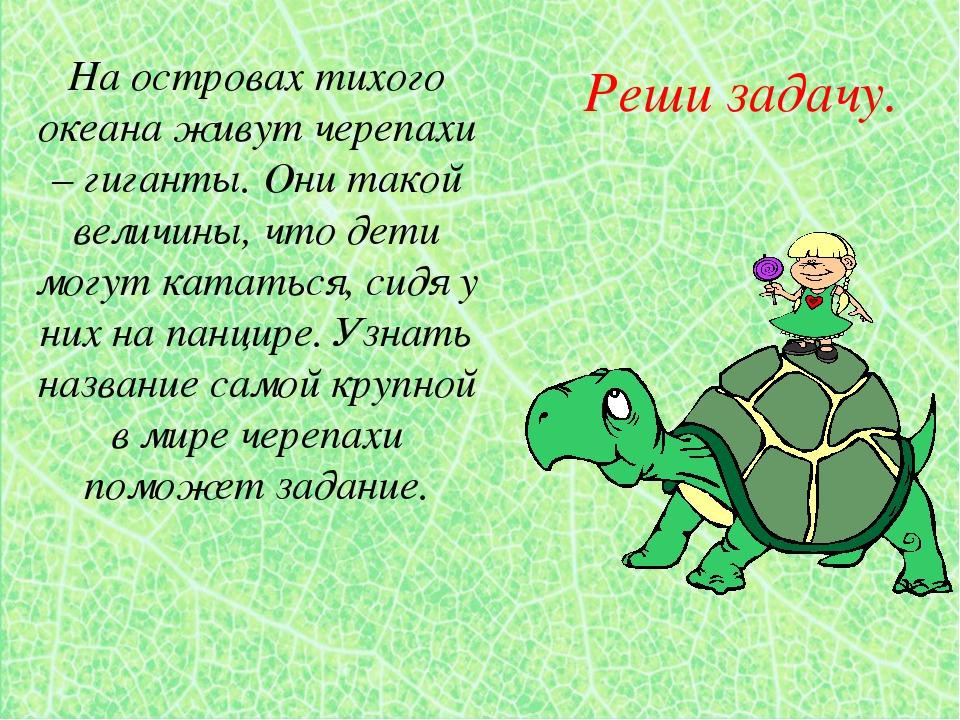Реши задачу. На островах тихого океана живут черепахи – гиганты. Они такой ве...