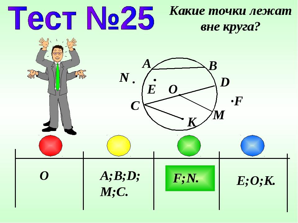O A;B;D;M;C. F;N. Какие точки лежат вне круга? A B D C E;O;K. F N K O M E