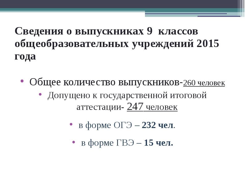 Сведения о выпускниках 9 классов общеобразовательных учреждений 2015 года Общ...