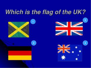 Which is the flag of the UK? 1 2 3 4