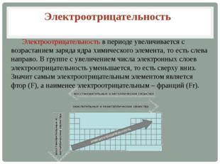 Электроотрицательность в периоде увеличивается с возрастанием заряда ядра хи