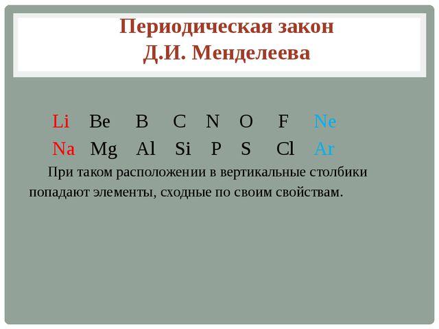 Li Be B C N O F Ne  Na Mg Al Si P S Cl Ar При таком расположении в вертик...