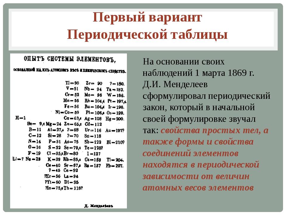 На основании своих наблюдений 1 марта 1869 г. Д.И. Менделеев сформулировал п...