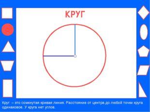 КРУГ Круг – это сомкнутая кривая линия. Расстояние от центра до любой точки к