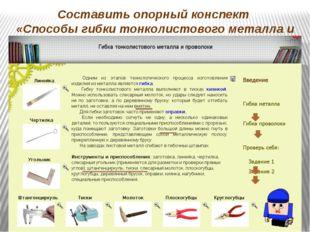 Составить опорный конспект «Способы гибки тонколистового металла и проволоки»