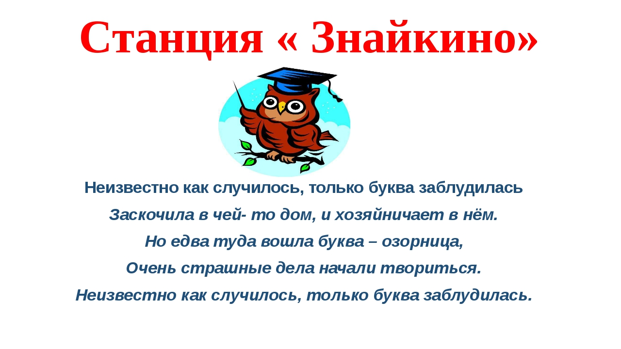 Станция « Знайкино» Неизвестно как случилось, только буква заблудилась Заскоч...