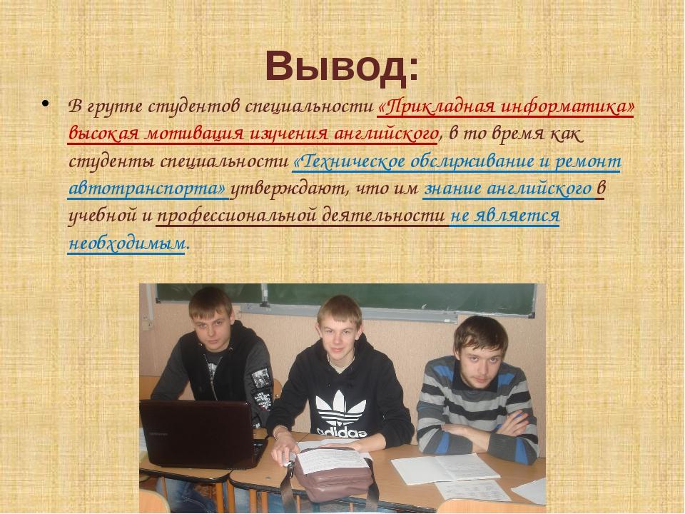 Вывод: В группе студентов специальности «Прикладная информатика» высокая моти...