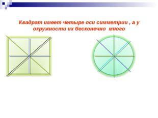 Квадрат имеет четыре оси симметрии , а у окружности их бесконечно много