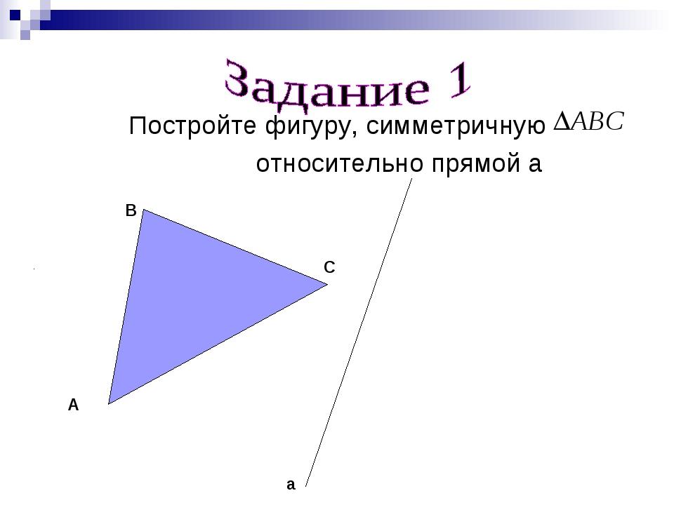 Постройте фигуру, симметричную относительно прямой a A B C a