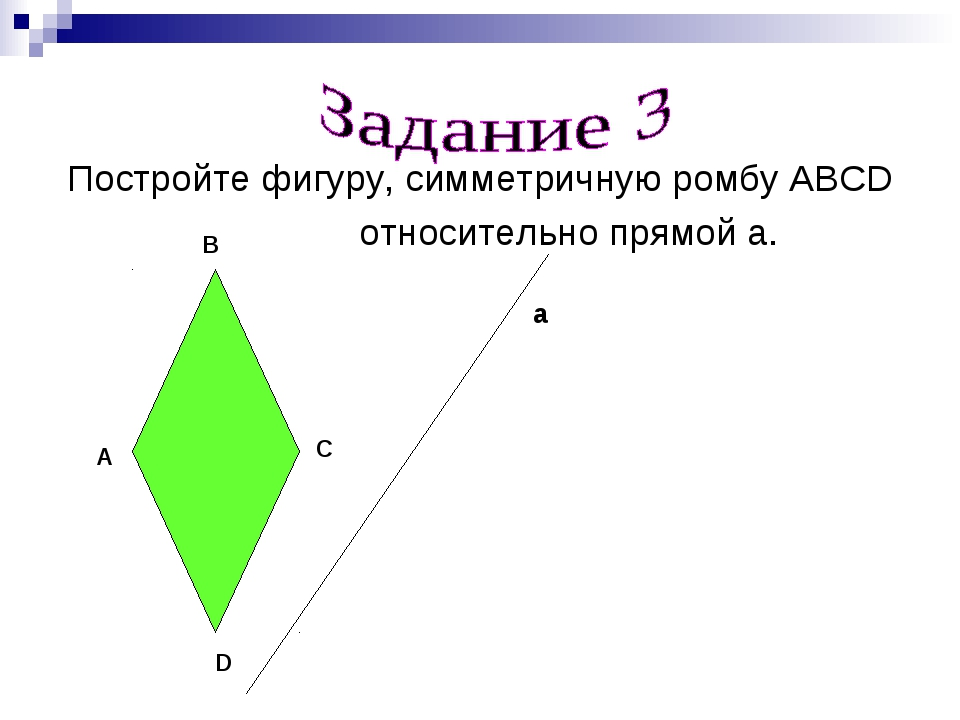 Постройте фигуру, симметричную ромбу ABCD относительно прямой а. A B C D а