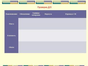 Проверка Д/З НаименованиеОбозначениеЕдиница измеренияФормулаПеревод в СИ