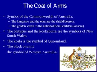 The Coat of Arms Symbol of the Commonwealth of Australia. The kangaroo and th