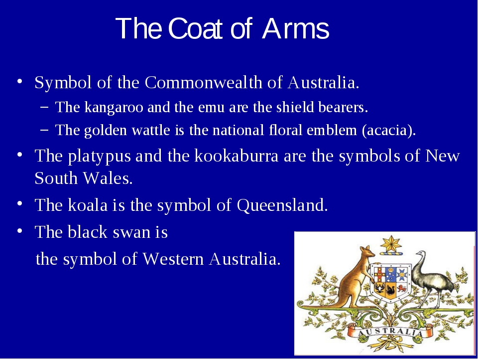 The Coat of Arms Symbol of the Commonwealth of Australia. The kangaroo and th...