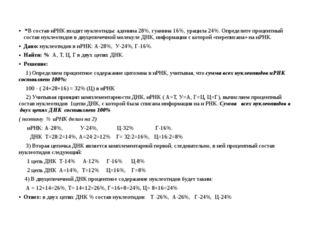 *В состав иРНК входят нуклеотиды: аденина 28%, гуанина 16%, урацила 24%. Опр
