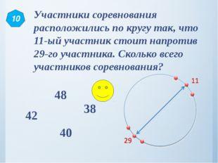 Участники соревнования расположились по кругу так, что 11-ый участник стоит н