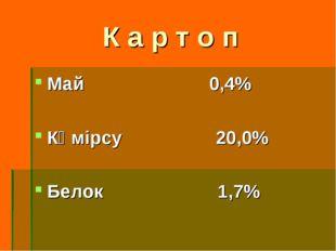 К а р т о п Май 0,4% Көмірсу 20,0% Белок 1,7%