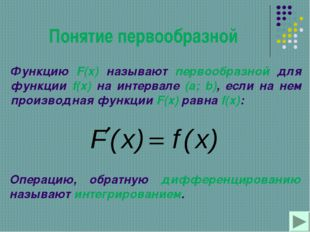 Понятие первообразной Функцию F(x) называют первообразной для функции f(x) на