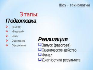 Подготовка «Сцена» «Ведущий» «Зал» Оценивание Оформление Этапы: Реализация За