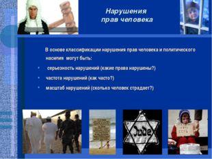 Нарушения прав человека В основе классификации нарушения прав человека и поли