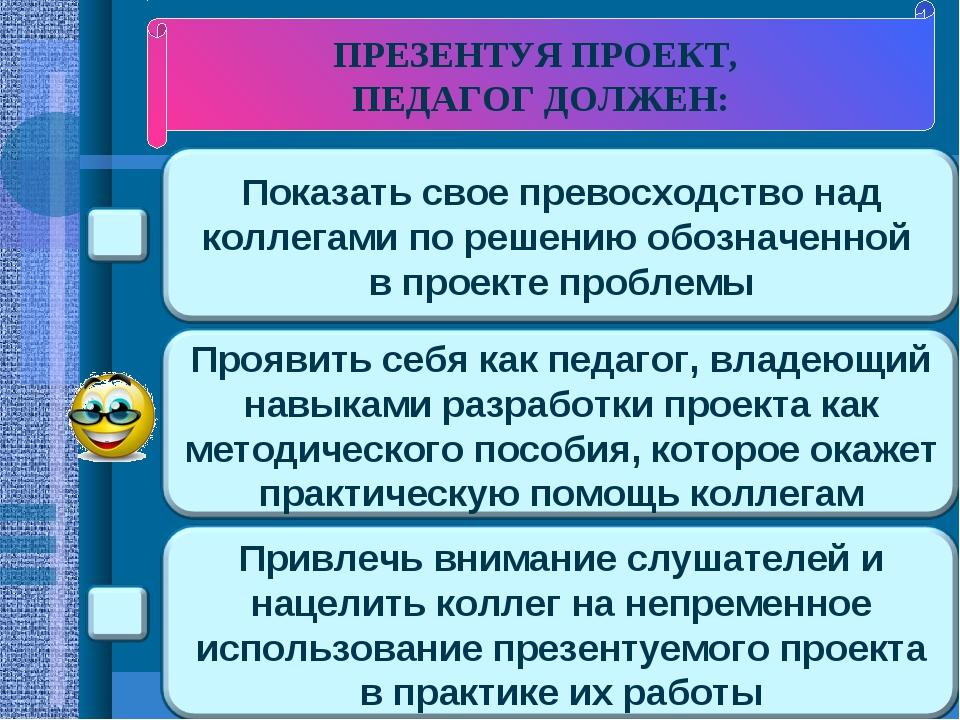 ПРЕЗЕНТУЯ ПРОЕКТ, ПЕДАГОГ ДОЛЖЕН: