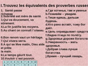 I.Trouvez les équivalents des proverbes russes. a.Где хотенье, там и уменье