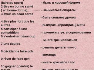 1.pratiquer le sport (faire du sport) 2.être en bonne santé ( en bonne forme)