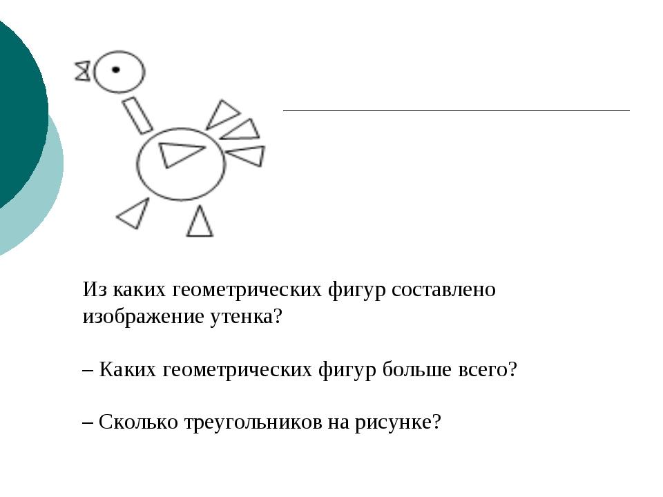 Из каких геометрических фигур составлено изображение утенка? – Каких геометри...