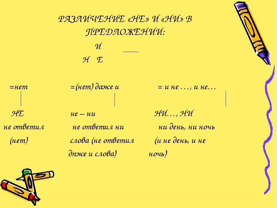 РАЗЛИЧЕНИЕ «НЕ» И «НИ» В ПРЕДЛОЖЕНИИ: И Н Е =нет =(нет) даже и = и не …, и не...