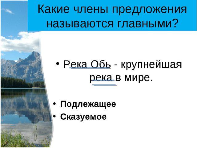 Какие члены предложения называются главными? Река Обь - крупнейшая река в мир...