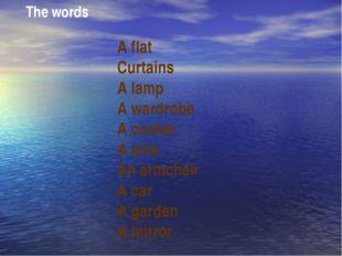 The words A flat Curtains A lamp A wardrobe A cooker A sink An armchair A car