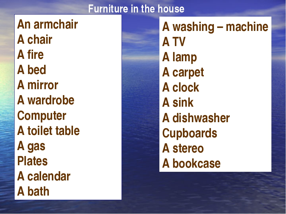 An armchair A chair A fire A bed A mirror A wardrobe Computer A toilet table...