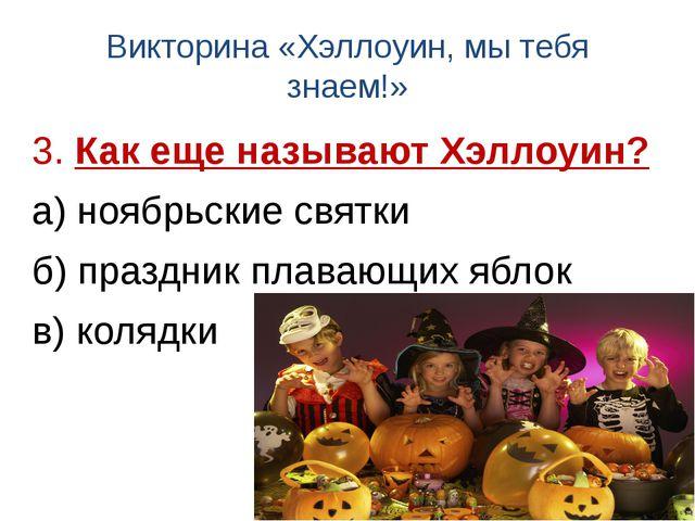 Викторина «Хэллоуин, мы тебя знаем!» 3. Как еще называют Хэллоуин? а) ноябрьс...