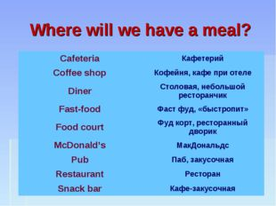 Where will we have a meal? Cafeteria	Кафетерий Coffee shop	Кофейня, кафе при