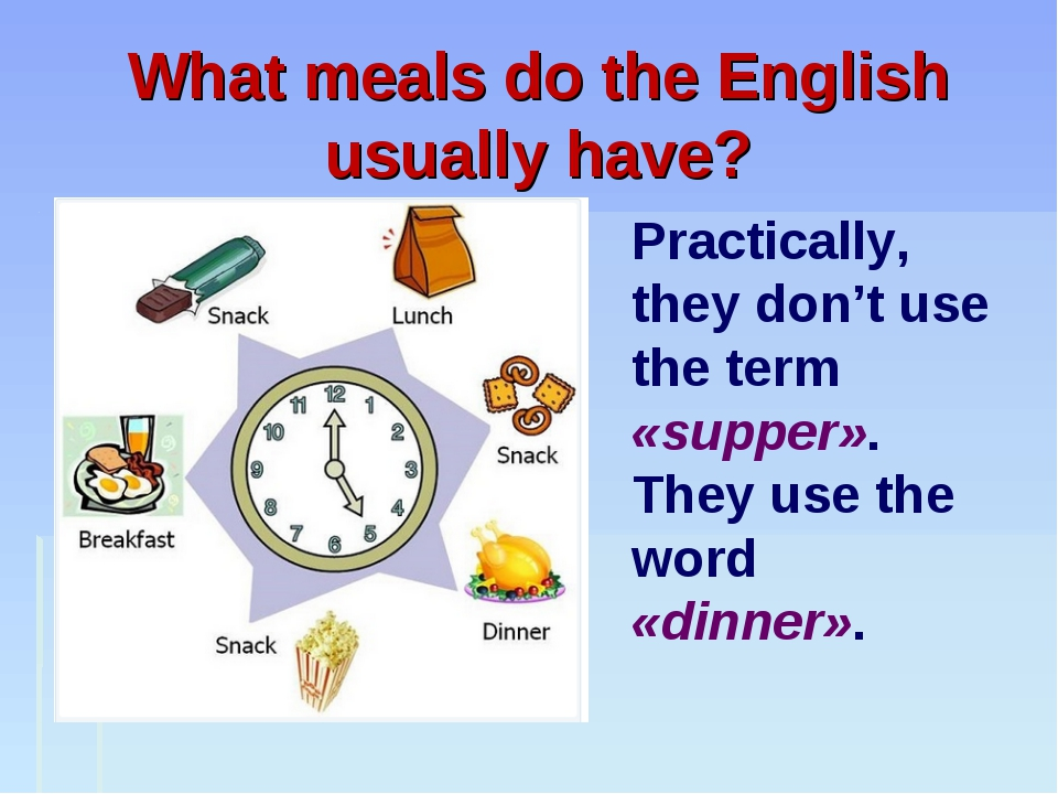 What meals do the English usually have? Practically, they don't use the term...