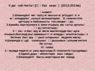 ІІ деңгей Негізгі (Сұқбат кезең) (2012-2014ж) Қызметі: 1.Шешендікті меңгерту