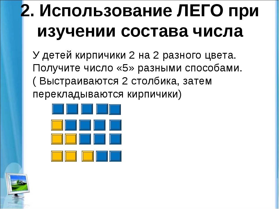 2. Использование ЛЕГО при изучении состава числа У детей кирпичики 2 на 2 раз...