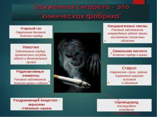 Угарный газ Нарушение дыхания, болезни сердца Никотин Заболевания сердца, кро