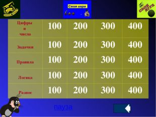 пауза Цифры и числа 100 200 300 400 Задачки 100 200 300 400 Правила 100 200 3